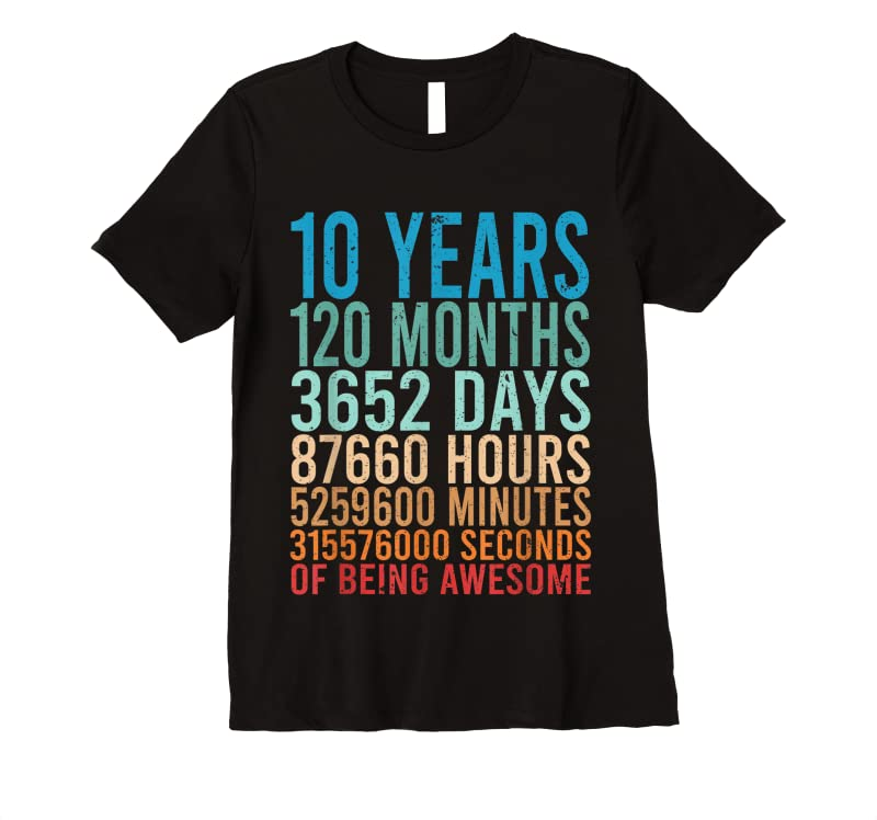 Best 10 Years Old 10th Birthday Gift Vintage Retro 120 Months T Shirts