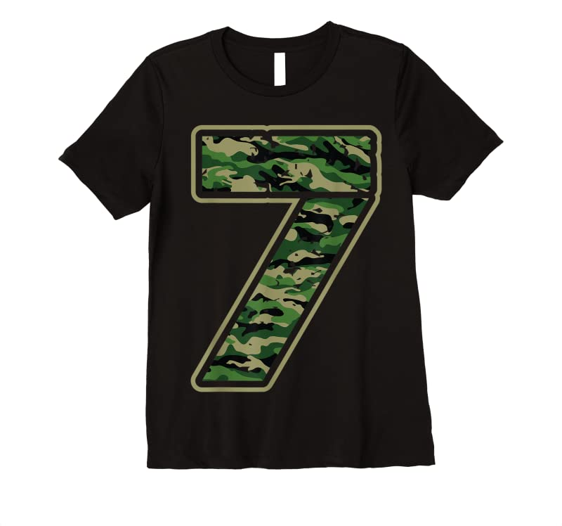 Best Cute Camouflage 7th Birthday Gift 7 Years Old Boy Girl Kid T Shirts