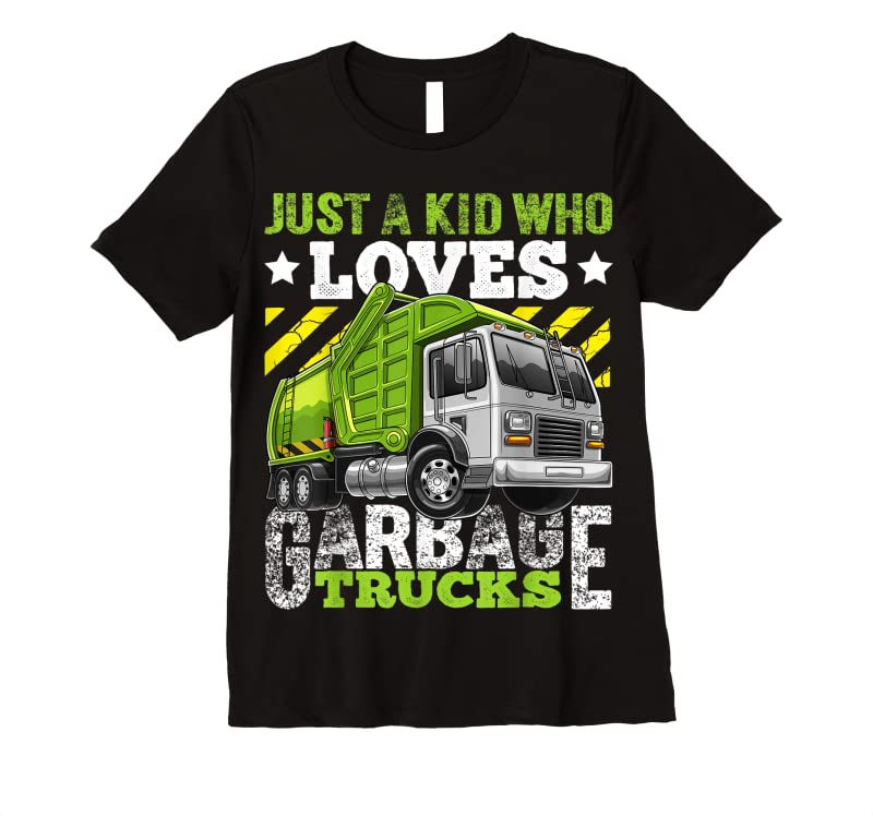 Best Just A Kid Who Loves Garbage Trucks Funny Gift For Boys Nbsp; T Shirts