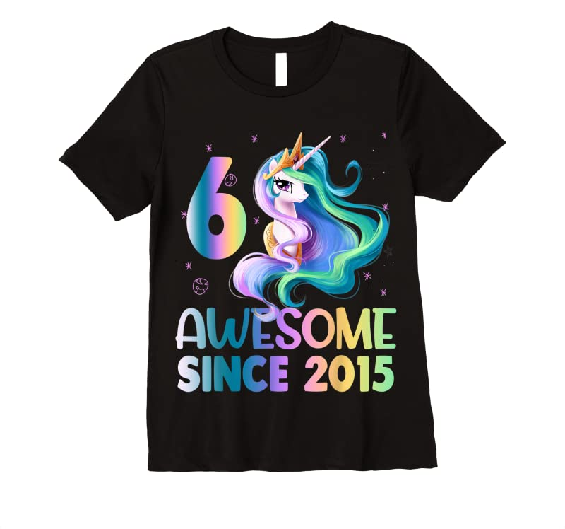 Cool 6 Years Old 6th Birthday Unicorn Girl Awesome Since 2015 Kid T Shirts