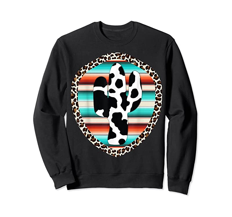 Cool Funny Serape Cow Print Cactus Leopard Print Turquoise T Shirts
