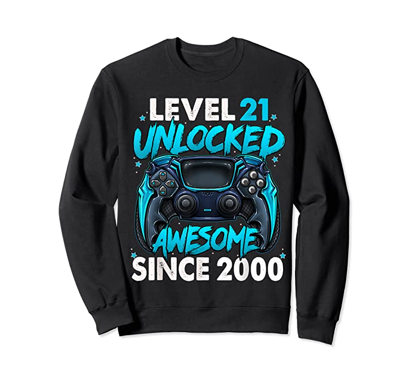 Cool Level 21 Unlocked Awesome Since 2000 21st Birthday Gaming T Shirts