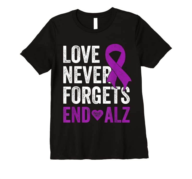 Cool Love Never Forgets Purple Ribbon Awareness End Alzheimers T Shirts