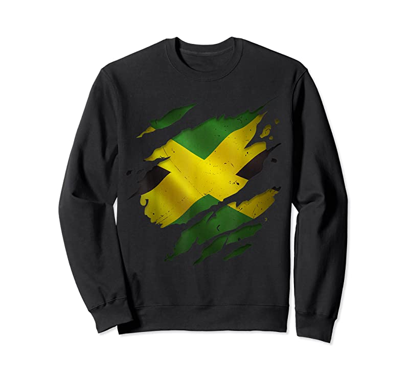 Cool Proud Jamaican Fashion Torn Ripped Jamaica Flag T Shirts