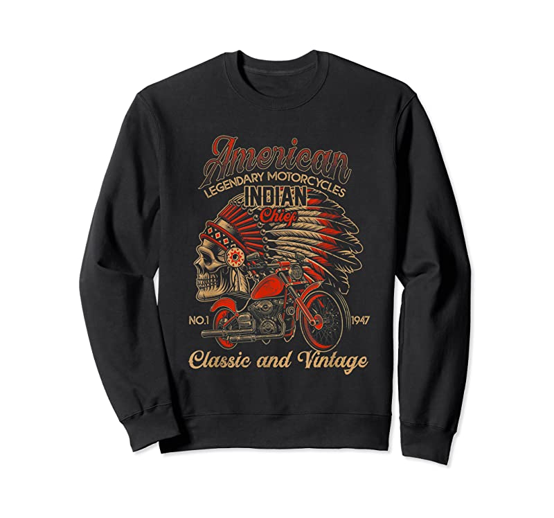 Cool Retro Vintage American Motorcycle Indian For Old Biker Funny T Shirts