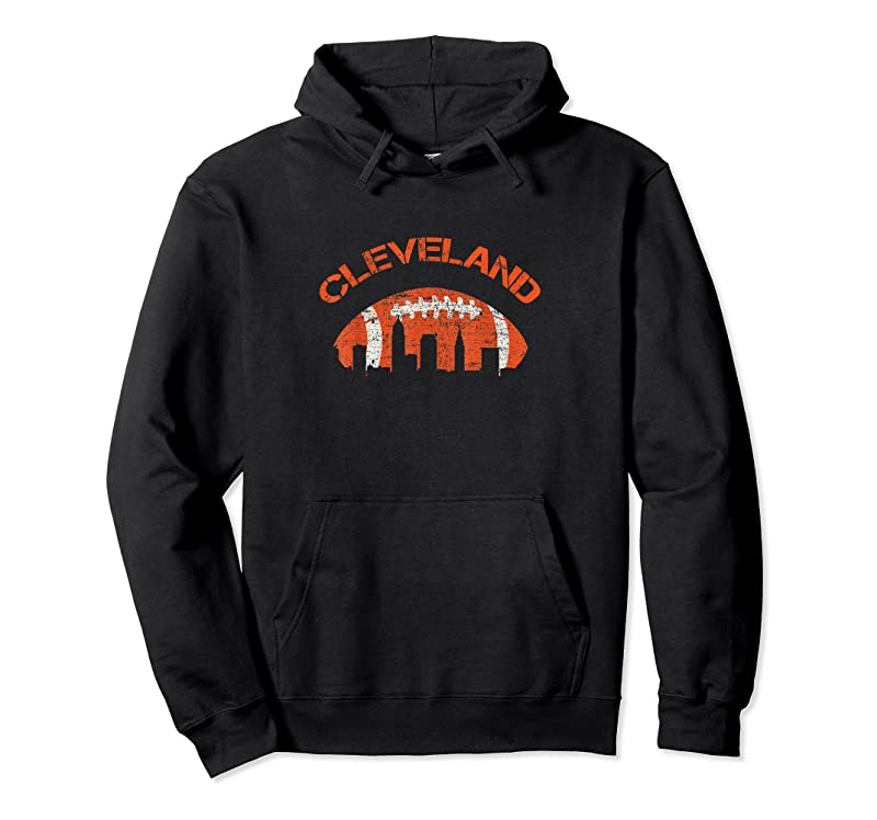 Cool Vintage Downtown Ohio Cleveland Skyline Football Tee Gift T Shirts