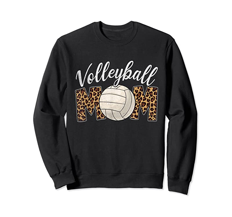 Cool Volleyball Mom Leopard Funny Sport Ball Mom Mother's Day T Shirts