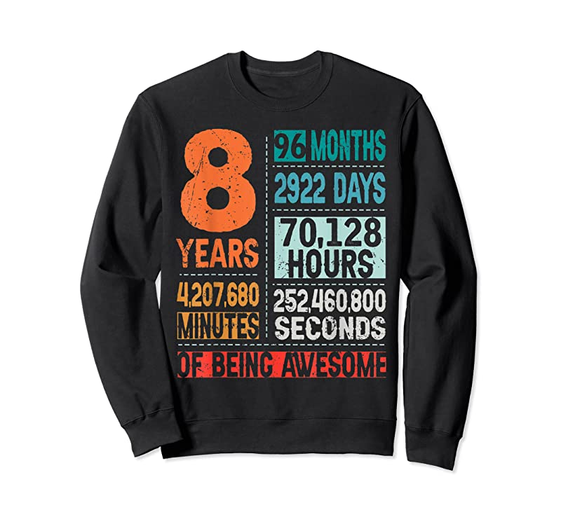 New 8 Years 96 Months Of Being Awesome 8th Birthday Countdown T Shirts
