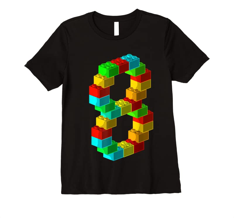 New Cute Block Building 8th Birthday Gift 8 Years Old Boys Girls T Shirts