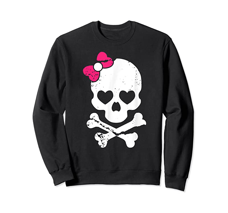 New Cute Skull And Cross Bone Pink Bow Tie Women Girls Adorable T Shirts
