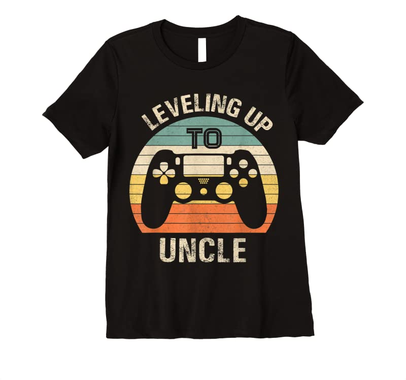 New Leveling Up To Uncle 2021 Funny Video Gamer Vintage Men T Shirts