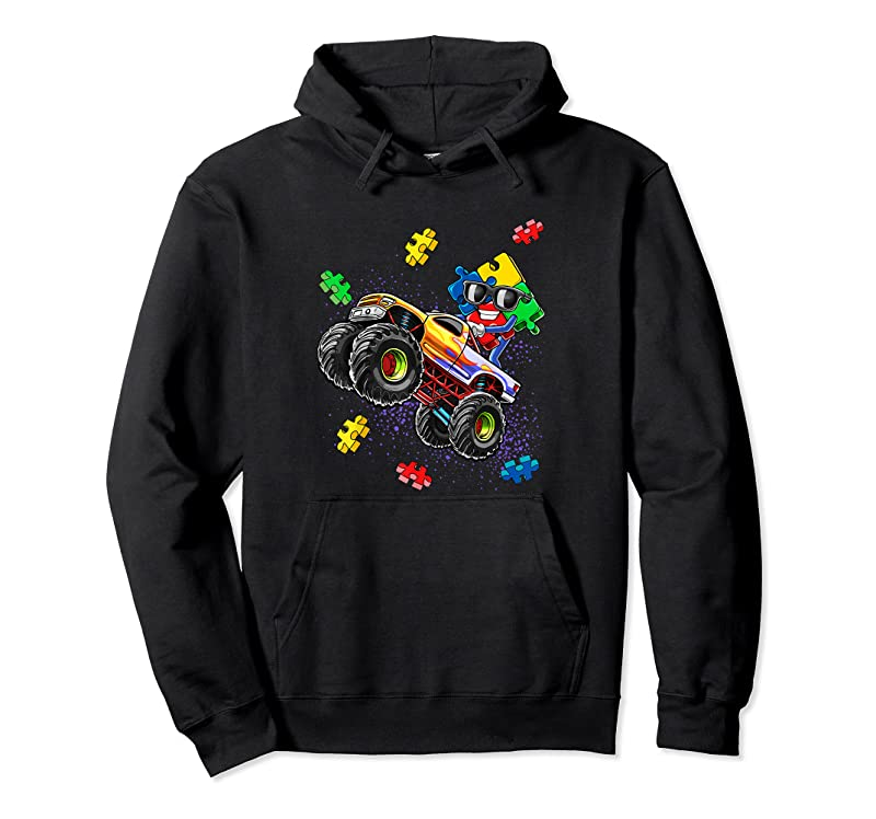 New Monster Truck Autism Awareness Puzzle Piece Gift For Boys T Shirts