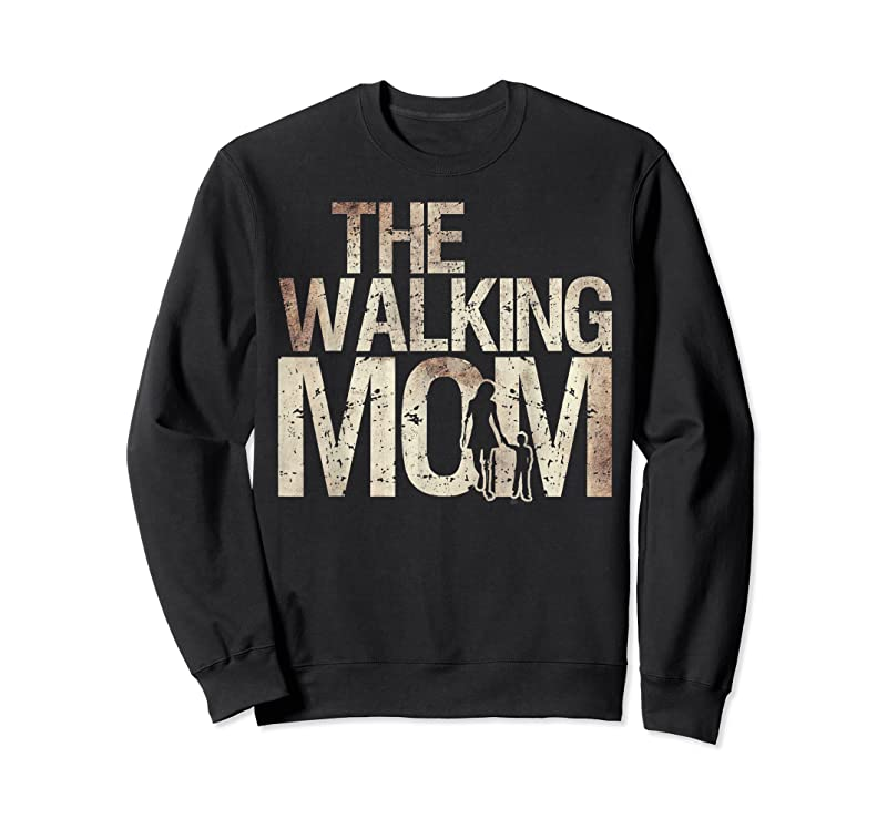 New Walking Mom Zombie Woman And Kid Mother's Day Apocalypse T Shirts