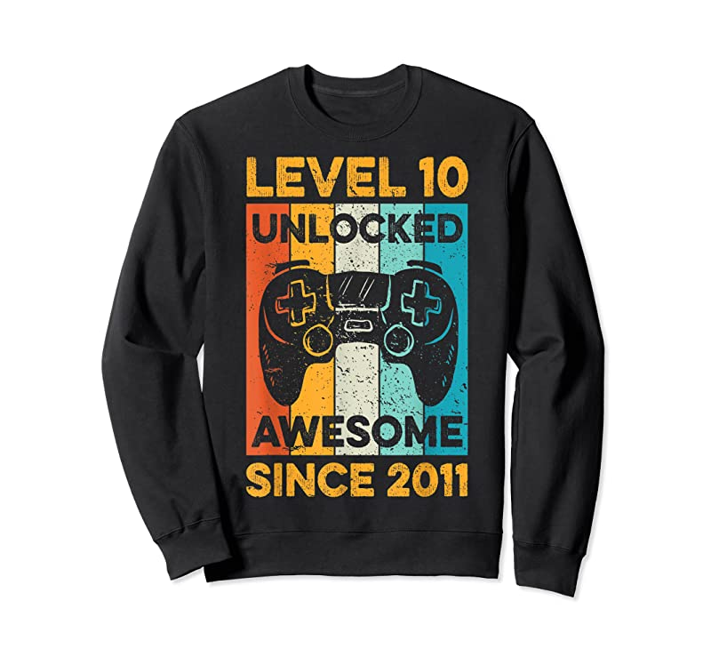 Perfect 10th Birthday Gift Level 10 Unlocked Awesome Since 2011 Boys T Shirts