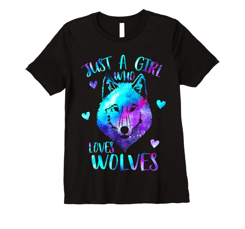 Perfect Just A Girl Who Loves Wolves Themed Galaxy Space Wolf Lover T Shirts
