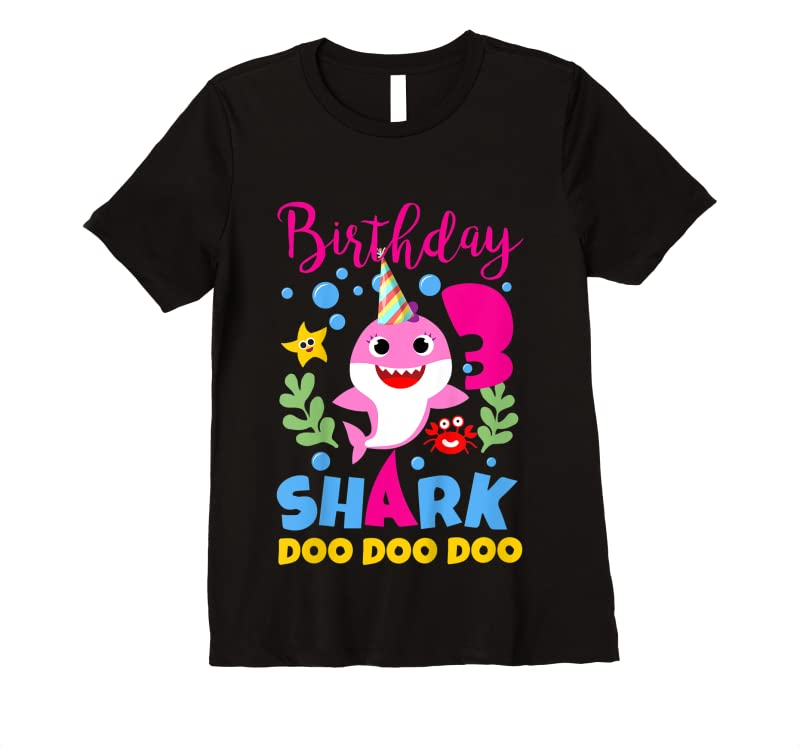 Perfect Kids Birthday Shark Baby For 3 Year Old Girl In Pink Doo Do T Shirts
