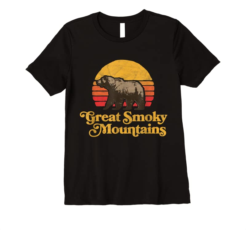Perfect Retro Great Smoky Mountains National Park Bear 80s Graphic T Shirts