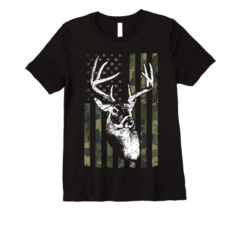 Perfect Whitetail Buck Deer Hunting Usa Camouflage American Flag T Shirts