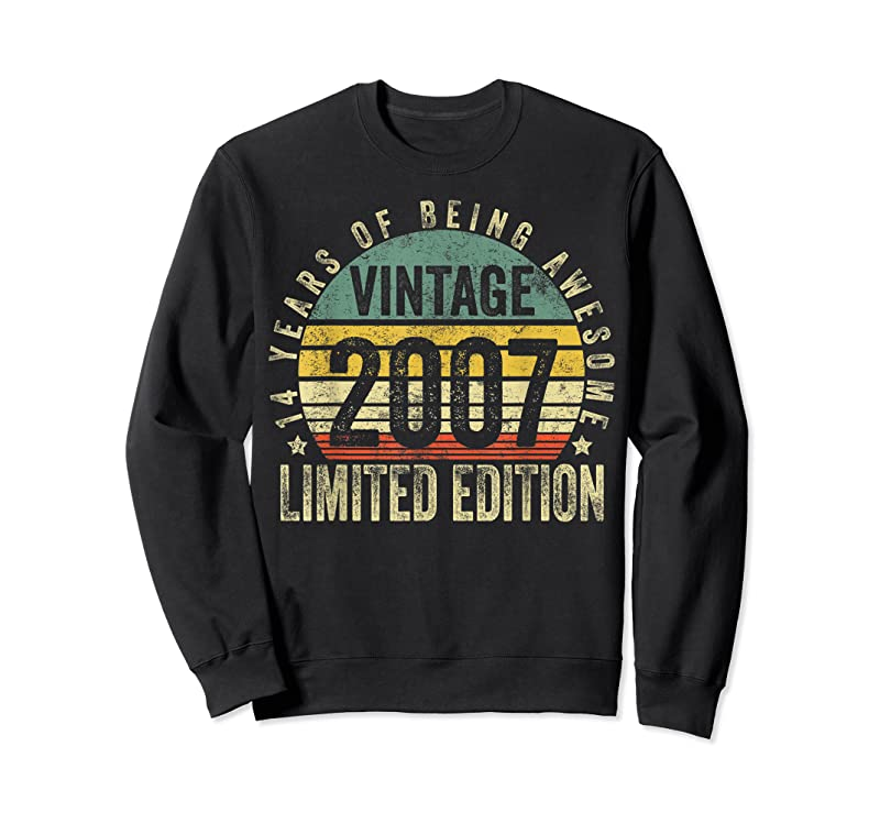 Shop 14 Year Old Gifts Vintage 2007 Limited Edition 14th Birthday T Shirts