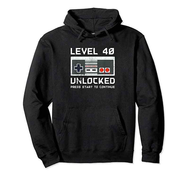 Shop 40 Year Old Forty Birthday Gift Level 40 Unlocked Gamer T Shirts