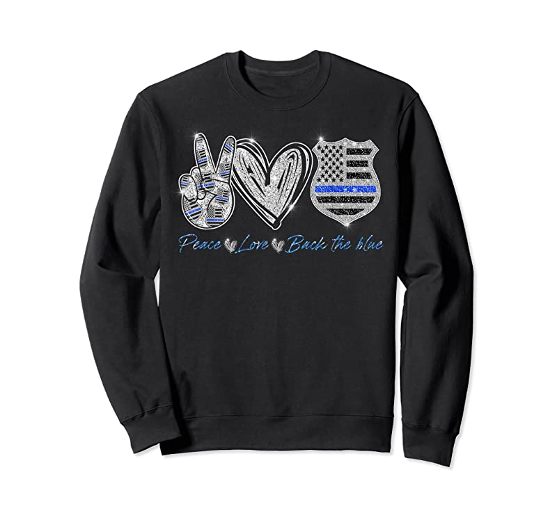 Shop Peace Love Back The Blue Police Officer Gift T Shirts