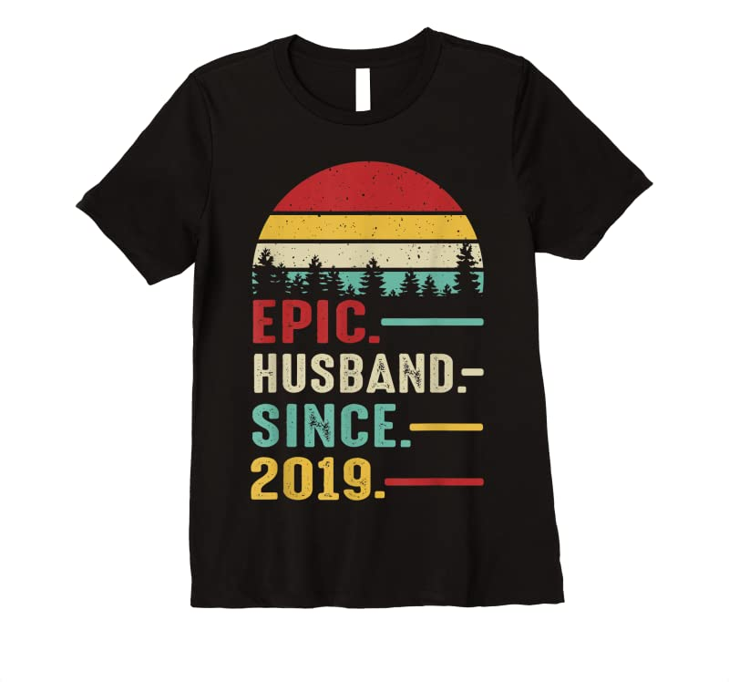 Trending 2nd Wedding Anniversary Gift For Him Epic Husband Since 2019 T Shirts