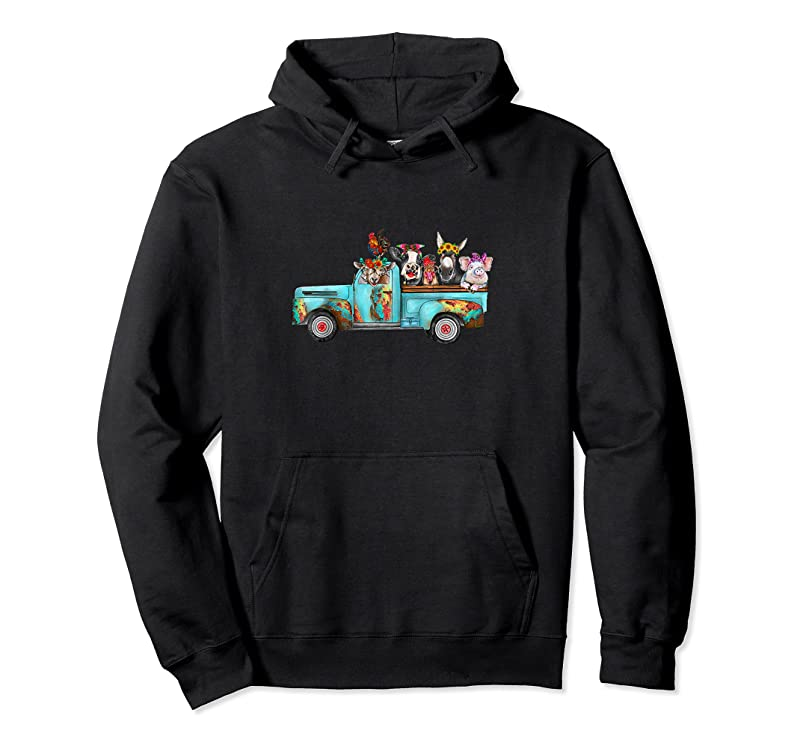 Trending Farm Pickup Truck With Farm Animals Farmer's Wife Cow Girl T Shirts