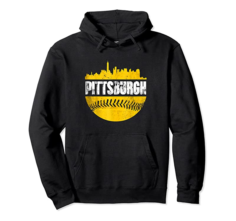 Trending Pittsburgh Baseball Cityscape Distressed Novelty Pirate Gift T Shirts