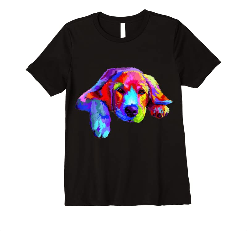 Trends Golden Retriever Dog Watercolor Funny Face T Shirts