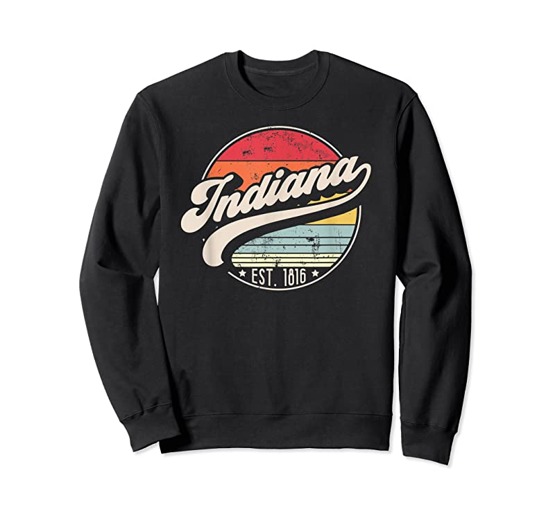 Trends Retro Indiana Home State In Cool 70s Style Sunset T Shirts