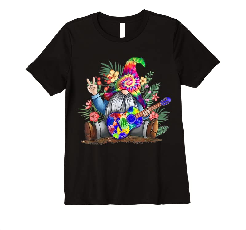 Trends Tie Dye Gnome Peace Playing Guitar Hippie Gnome Colorful T Shirts