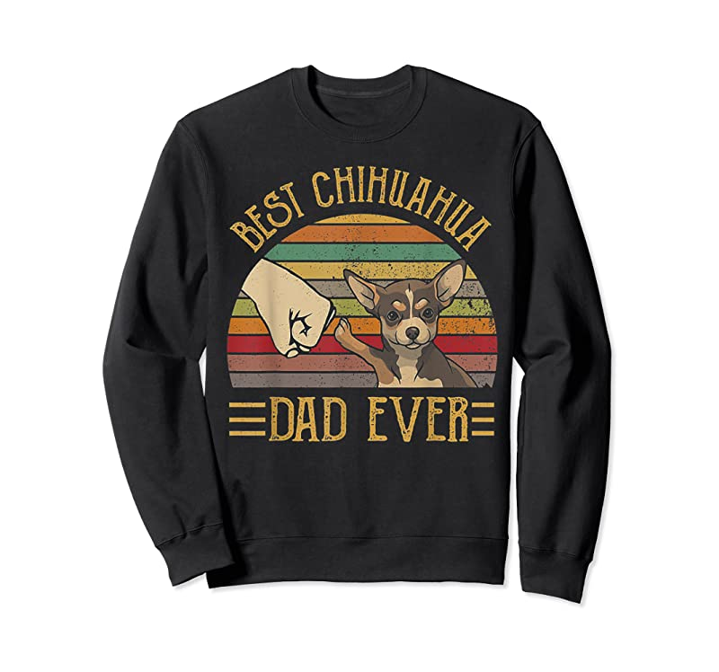 Unisex Best Chihuahua Dad Ever Retro Vintage Sunset T Shirts