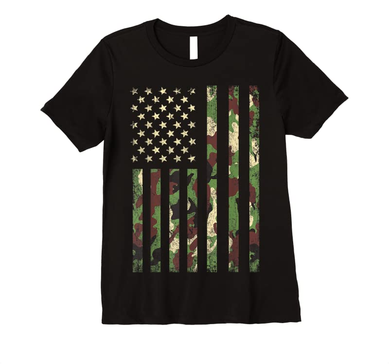 Unisex Desert Camo American Flag Military Tactical Camouflage Usa T Shirts