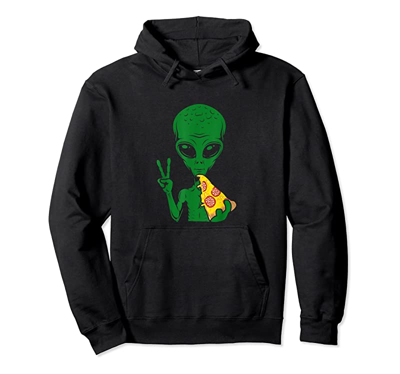 Unisex Funny Alien Head Eating Pizza Ufo Extraterrestrial T Shirts