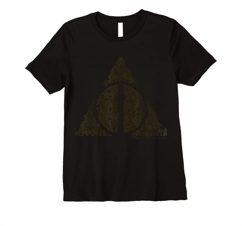 Unisex Harry Potter Deathly Hallows Symbol Text Fill T Shirts