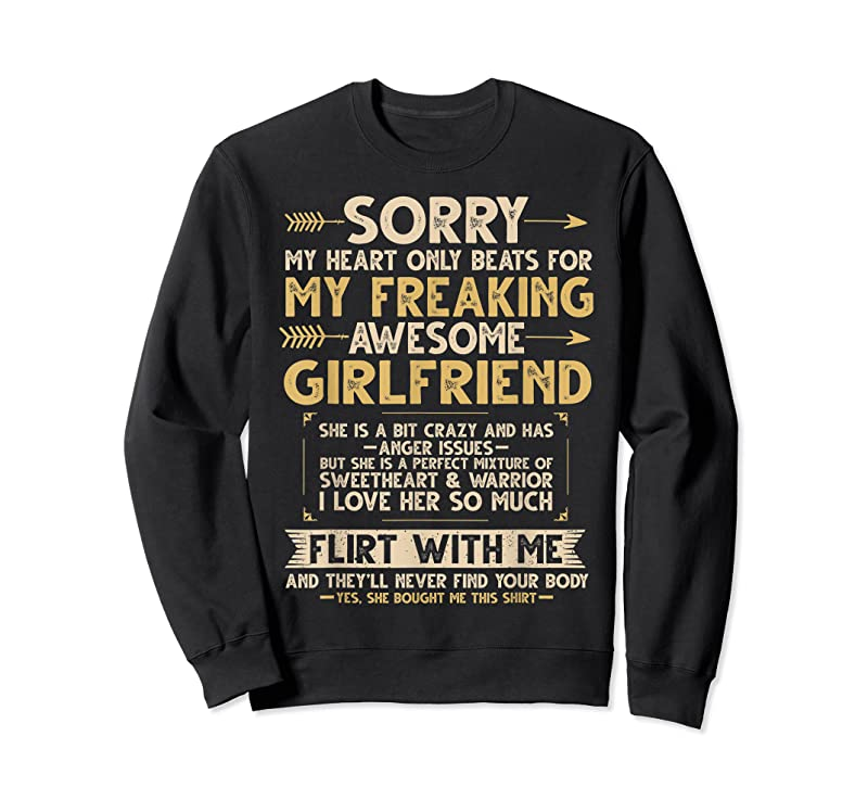 Unisex I Love My Freaking Awesome Girlfriend Shes A Bit Crazy Funny T Shirts