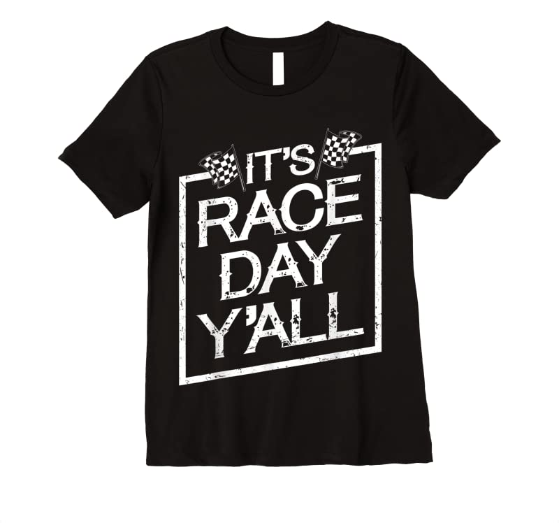 Unisex It's Race Day Y'all Dirt Track Racing Checkered Flag T Shirts