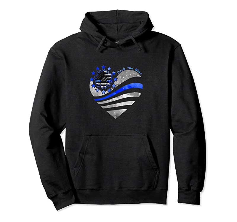 Unisex Sunflower Thin Blue Line Police Heart Back The Blue Law Enfo T Shirts